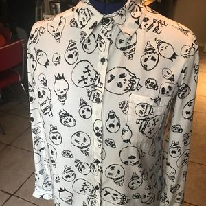 Black and White Unique Skull Shirt with Collar